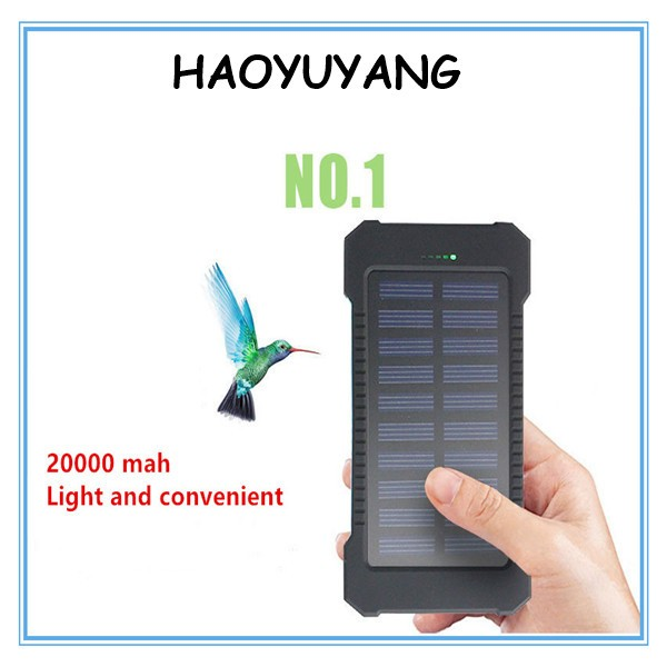 18650 Rechargeable Li ion Lithium Battery Pack 20000mAh Solar Charger With LED Flashlight