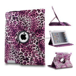 Purple 360 Degrees Rotating Stand Leopard Print PU Smart Leather Case Cover for Apple iPad 4 with Retina Display
