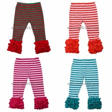 2017 hot style fashionable stripe icing legging wholesale boutique ruffle baby pants