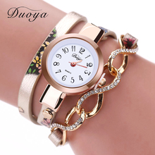 Duoya Luxury Watch Fashion Women Gold Thin Leather Bracelet Watch Ladies Dress Quartz Wristwatch Clock Business Vintage Watch