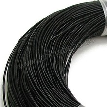 Wholesale 1mm black leather cord for bracelet making, round leather cords