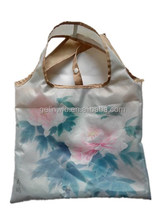 quality polyester foldable vest handles bag with CMYK printing on one side