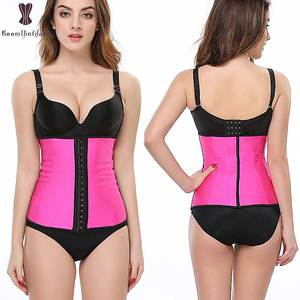 latex rubber waist trainer 3 rows of hooks shaper girdles colombian waist reducing corset
