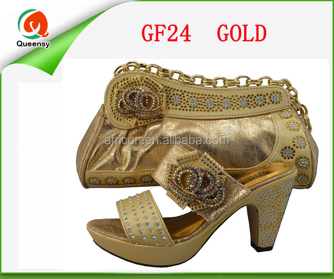 GF24 Hot evening shoes with stones,women matching italian shoes and bag set