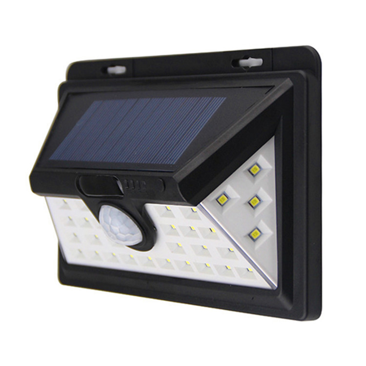 Three Sides Super Bright Waterproof IP65 Motion Sensor Solar 34 Led Outdoor Lighting Wall With High Light/Dim Light/Sensor Mode