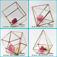MOQ Only 25pcs Fashion Home Decoration Gold Color Brass Frame Geometrical Glass Terrarium Lead And Nickle Free Material