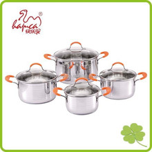 New Design 8pcs Induction Casserole Pan Stainless Steel Sauce Pot With colorful knob and handle
