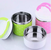 High Quality colorful cute Stainless Steel soup bowl /double insulation plastic noodle cup with lid