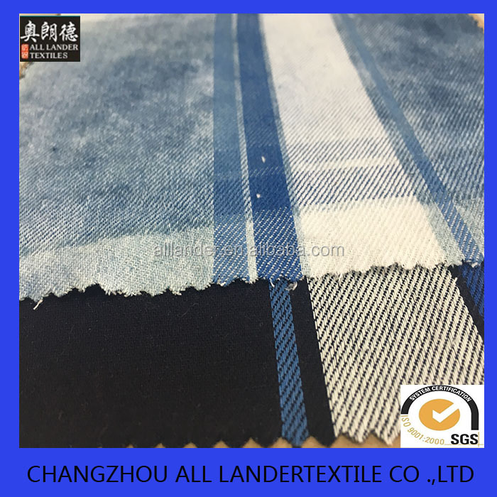 <strong>cotton</strong> woven indigo dyed plain gingham check plaid fabric for shirts cloth