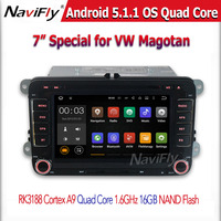 7 inch Android 5.1 Quad core RK3188 GPS WIFI 3G BT Support volkwagen magotan CAR NAVIGATION DVD