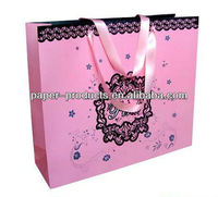 Pink Carry paper bag/Carrier paper bag for garment /gift