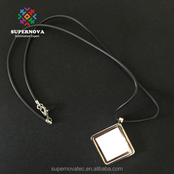 Fashionable Design Teen Sublimate Necklace Jewelries, Square Shape Black Choker Necklace