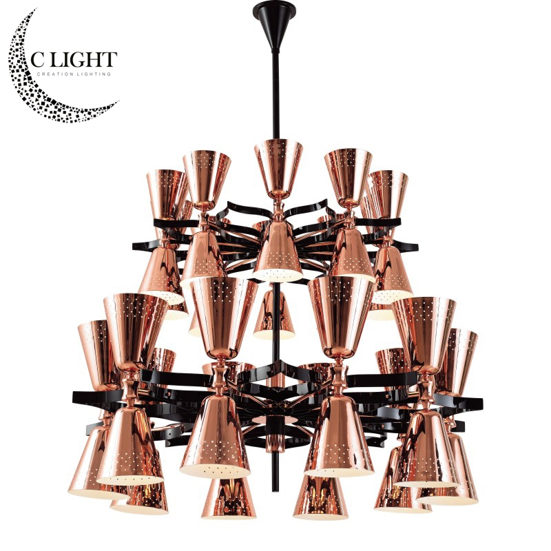 Wholesale Two-layer Large Pendant Light Copper Gold Black White Color for Your Choose