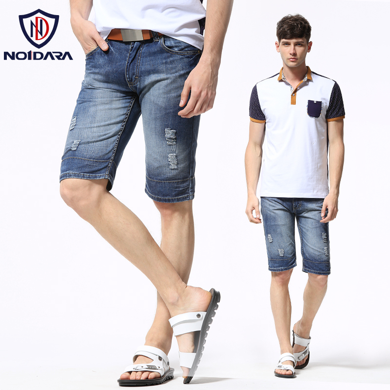 no1dara 2014 summer Korean men in light-colored pants Slim Straight Men tide denim shorts hole