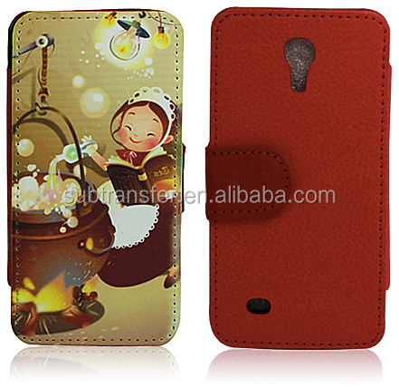 Sublimation flip leather wallet phone case for SamSung S4 mini