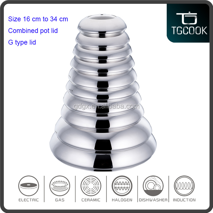 16 cm 18 cm 20 cm 34 cm Stainless steel tempered glass combined universal pot lid