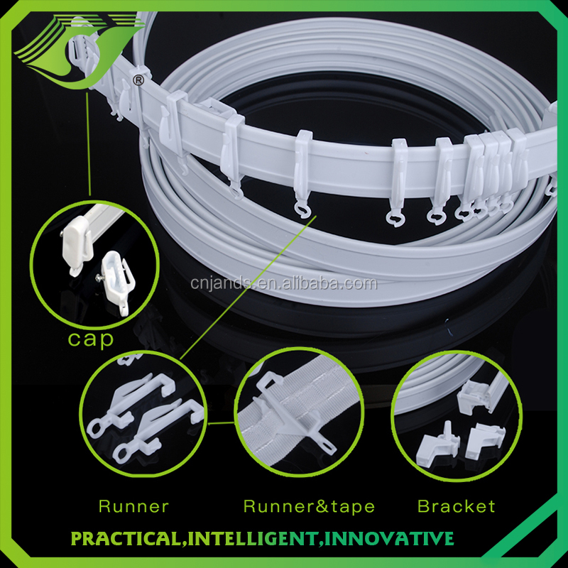 D-T0012 Pvc round flexible curtain rail,curtain track glider plastic,ceiling mount curtain track