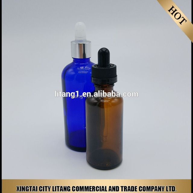 New product high quality 15ml 30ml amber/blue/black gold silver glass essential oil bottle with dropper