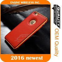 NEW Luxury Leather Back Case Aluminum Bumper Cover designer for iphone case