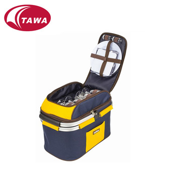 Newly designed portable polyester fabric insulated picnic basket
