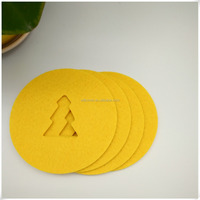 factory customized non-woven fabric cutting tree glass coaster for home, hotel and wedding drink