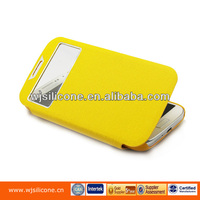 Yellow Original PU Side Flip Protective Case for Samsung S4