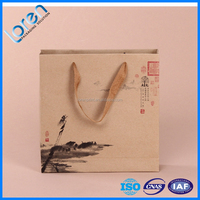 210g recycled cheap custom made flat handle kraft paper bag