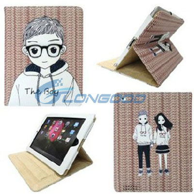 Colorful 3D Glasses Lover Boy and Girl Couple Leather Case Cover Stand for iPad 3 for Ipad 2