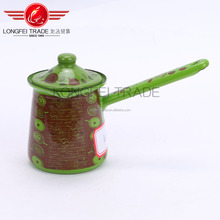 Green painted Round Handle Induction Enamel Turkish Coffee Pot