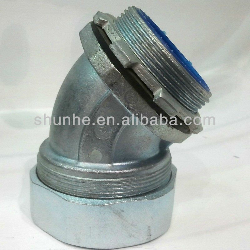 Zinc 45 Degree Flexible Steel Conduit Connector