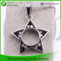 Shiny rhinestone five pointed pentagram pendant silver crystal pendant jewelry accessories statement necklace D2-0014