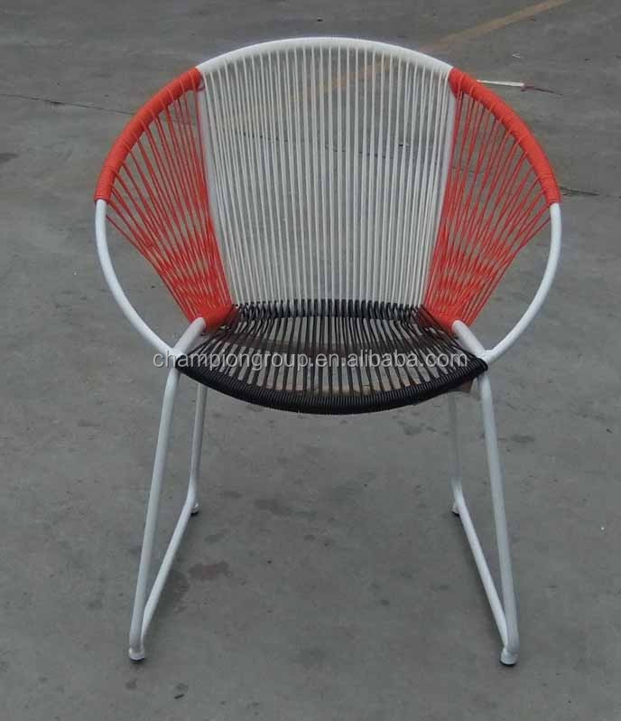 Colorful PE cord round chair in copy of Acapulco design