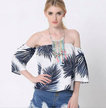 monroo new pattern flower dress t-shirts wholesale women off shoulder tops