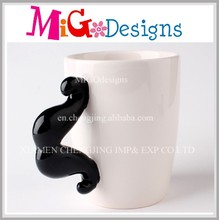 Beard Handle Wholesale Ceramic White Bulk Coffee Mugs