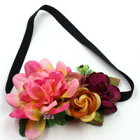 Beatiful colorful silk flower headband korean fashion hair accessories