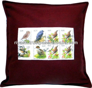 Felt Cushion Cover with Custom Image Printed Fabric Patch - 50 Cm Sq.