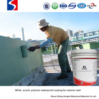 White acrylic polymer waterproofing coating for exterior wall