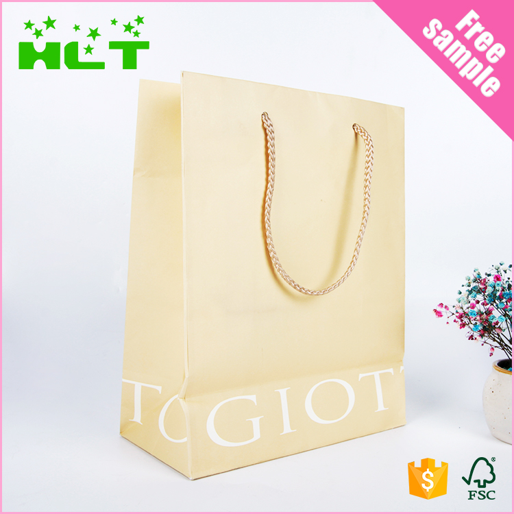 2017 Wholesale Small kraft Brown Paper Bag price with Handles