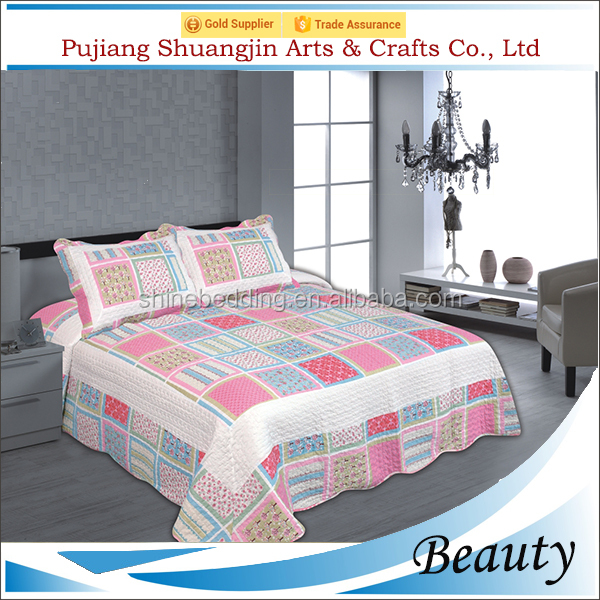 China supplier polyester print design 3d patchwork quilt custom bed sheet
