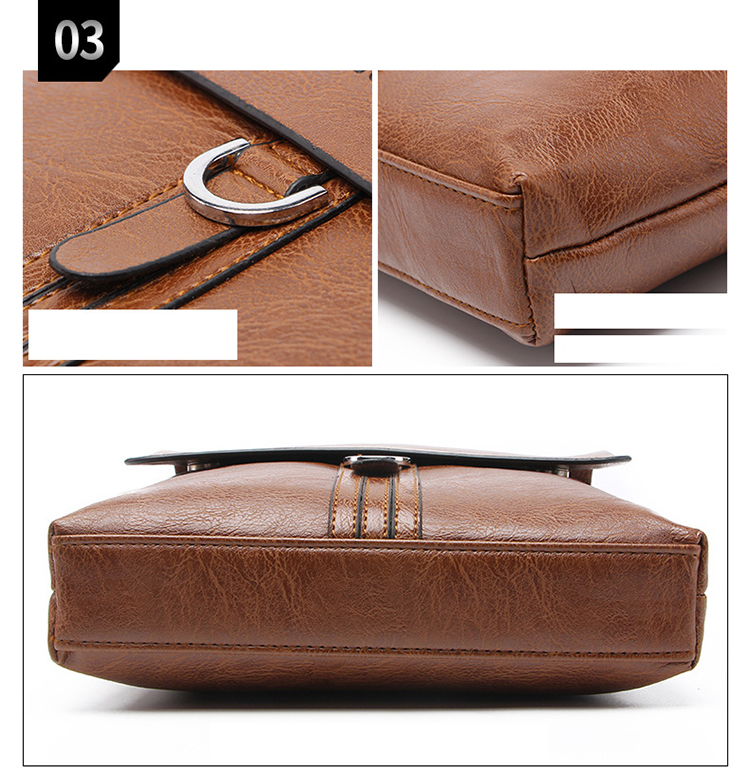 Waterproof PU leather Business Casual shoulder Sling Bag Men Satchel Messenger Crossbody Bag Men