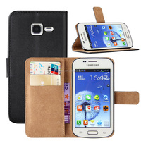 Genuine Leather Wallet Case Cover for Samsung galaxy trend S7572