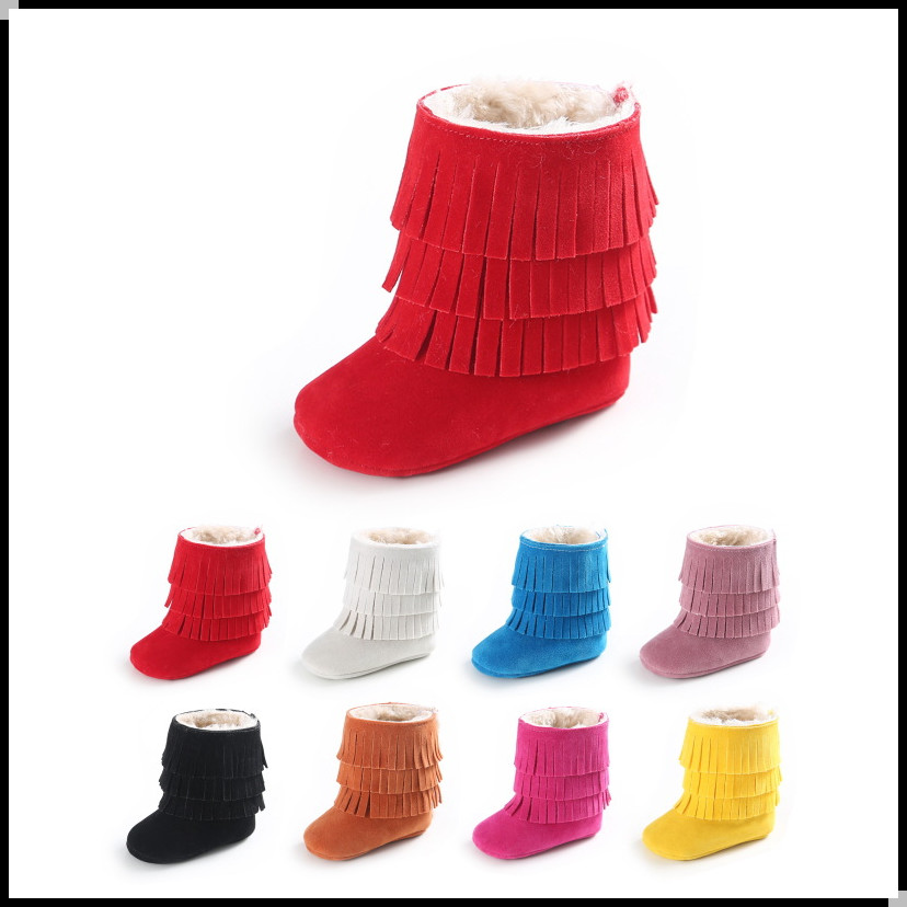 New good quality soft sole multi color baby warm winter boots