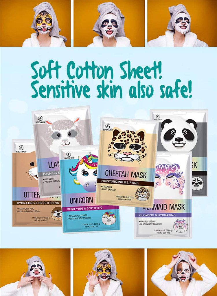 Oem custom organische private label animal vorm hydrating facial mask
