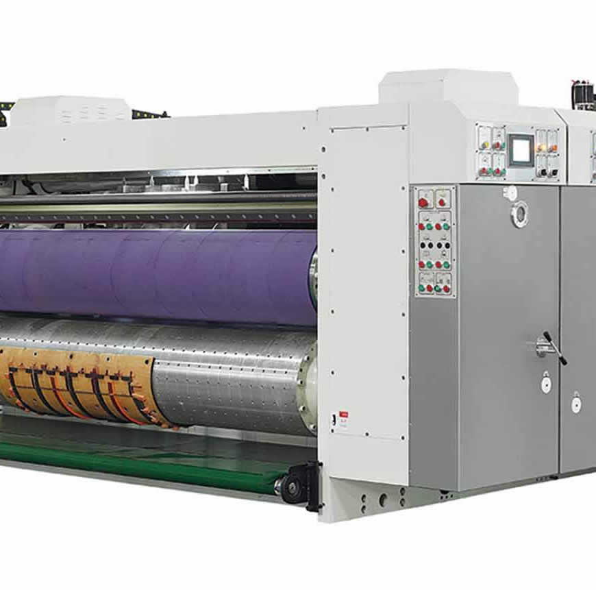 Ink printing slotting machine controlled by PLC touch screen