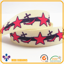 22mm Good quality heat transfer print star and boat anchor pattern Herringbone ribbon