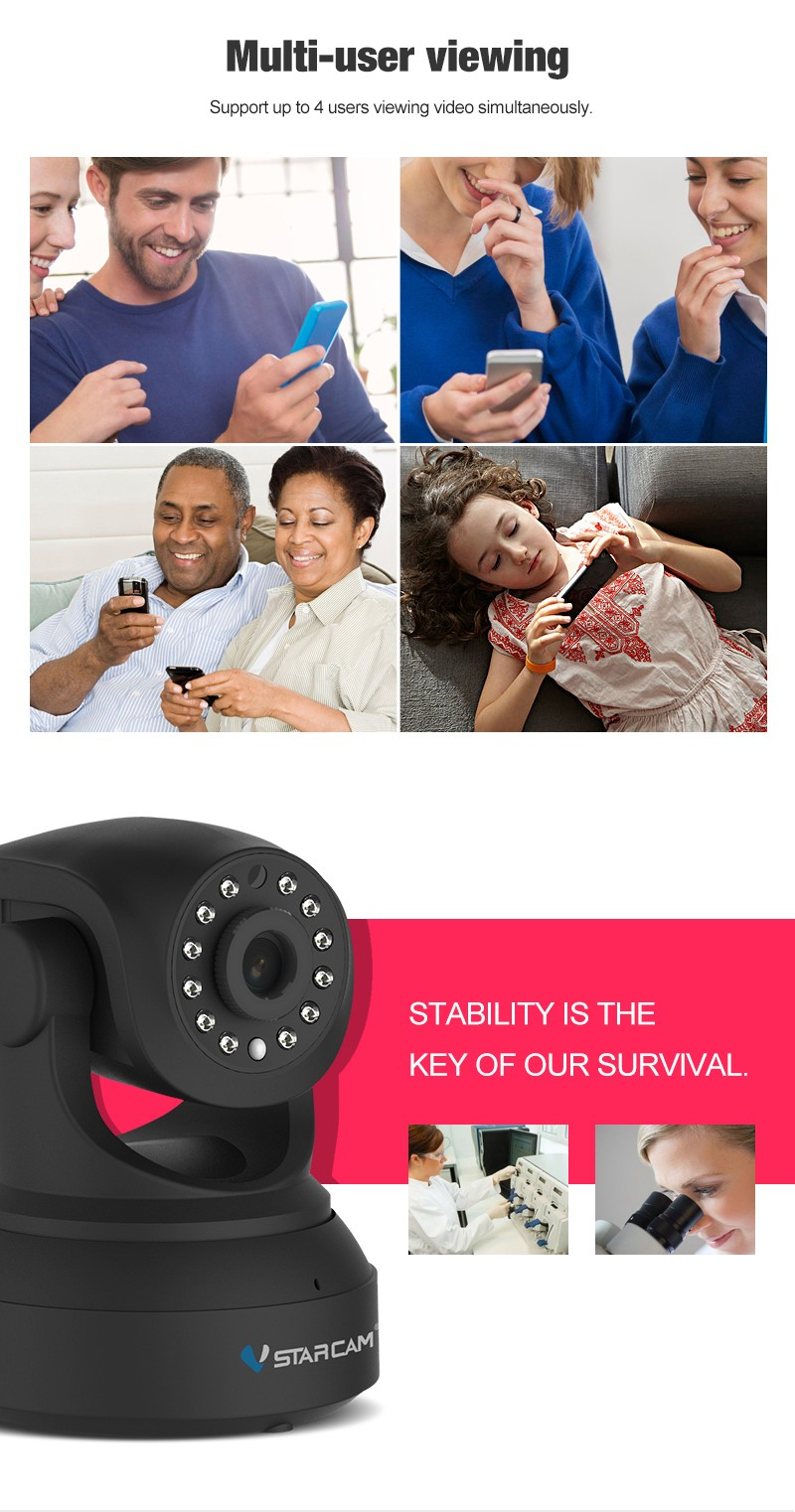 VStarcam manufacturer waterproof 1080P cctv camera with memory card