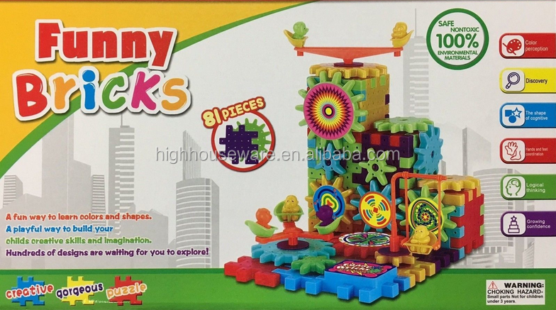 81PC Funny Brick Moving Gear Playground Educational Building Block Toy Xmas Gift