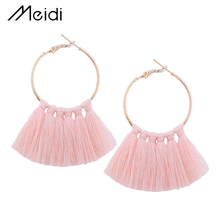 E1131 9 Colors Round Circle Tassel Fringe Fashion Bohemian Jewelry Drop Round Statement Tassel Earrings