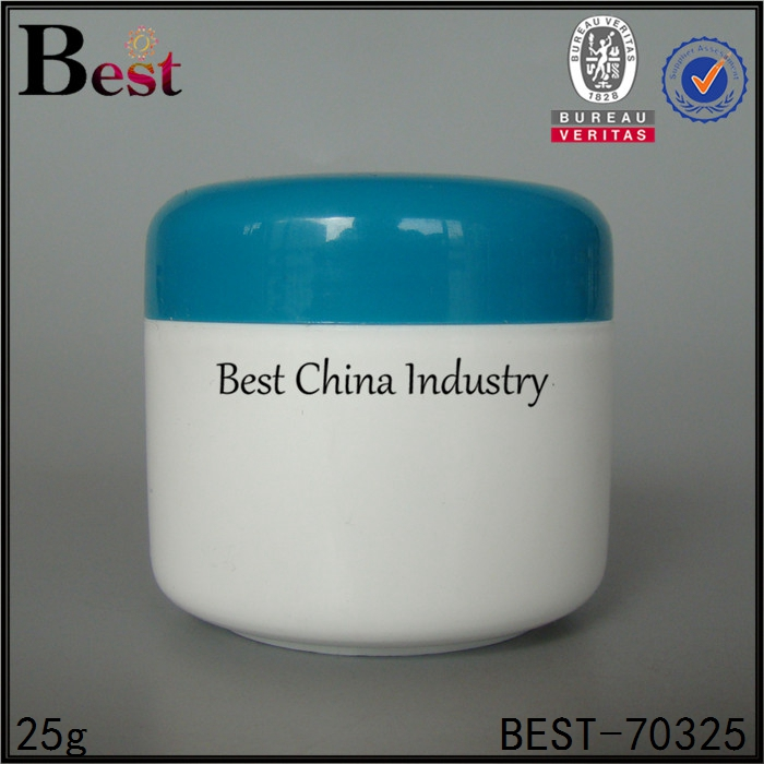 cosmetics 25g white round pp cream jar with blue lid simple design high quality plastic jar china suppliers