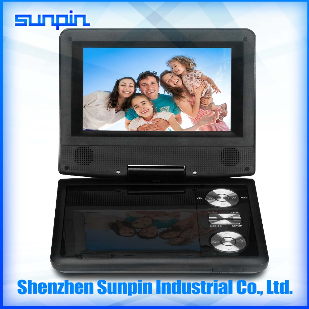 Full function slim 7 inch portable dvd player with tv/fm/usb